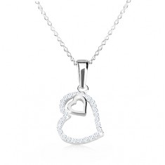 7b6afd760 Strieborný 925 náhrdelník - obrys nepravidelného srdca so zirkónmi, srdiečko