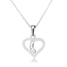 0d9451bbb Strieborný náhrdelník 925 - obrys srdca s ligotavými zirkónmi, srdiečková  línia