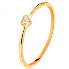 Prsteň zo žltého 9K zlata - srdiečko zdobené okrúhlymi čírymi zirkónmi