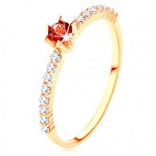 Zlatý prsteň 375 - číre zirkónové línie, vyvýšený okrúhly červený granát