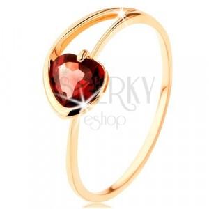 Červené granátové srdiečko prsteň