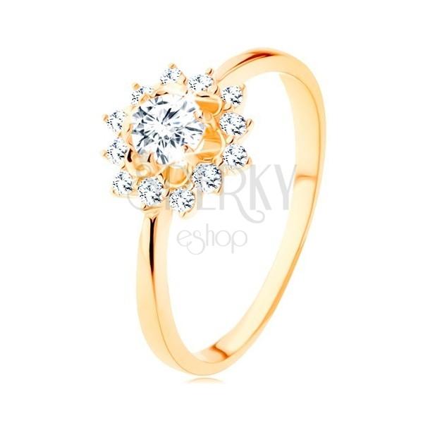 Prsteň zo žltého 9K zlata - číre zirkónové slnko, lesklé úzke ramená