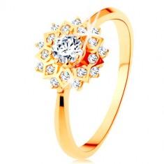 b8a36a85c Zlatý prsteň 375 - trblietavé slnko zdobené okrúhlymi čírymi zirkónikmi
