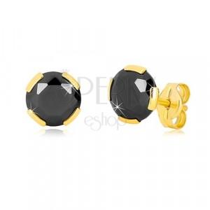 17701739c Náušnice v žltom zlate 375 - brúsený okrúhly zirkón čiernej farby, 6 ...
