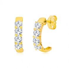 Puzetové náušnice v žltom 9K zlate - polkruhy s čírymi okrúhlymi zirkónmi