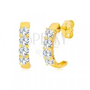 acd5f6d51 Puzetové náušnice v žltom 9K zlate - polkruhy s čírymi okrúhlymi zirkónmi