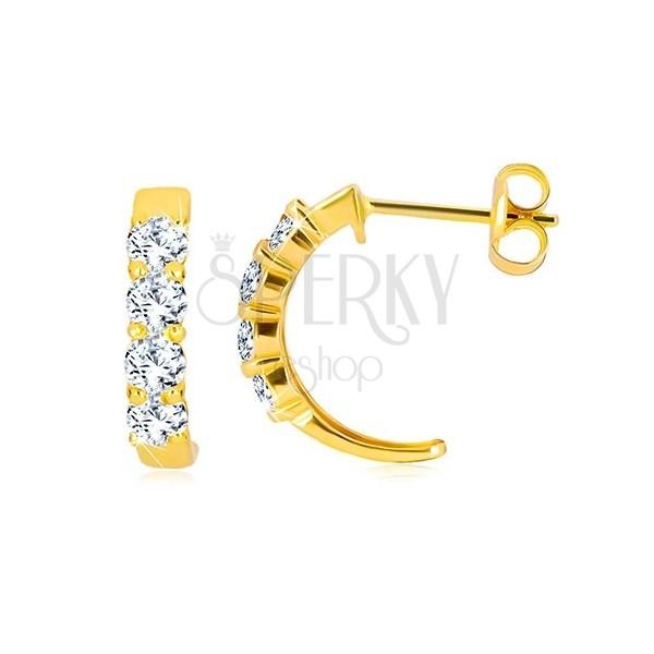 17a892c46 ... Puzetové náušnice v žltom 9K zlate - polkruhy s čírymi okrúhlymi  zirkónmi ...