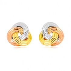 f056a28b5 Náušnice z kombinovaného 14K zlata - trojfarebný uzol, širšie vrúbkované  prstence