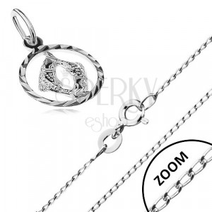b9f5daefa Strieborný náhrdelník 925 - lesklá retiazka, prívesok znamenia RYBY ...