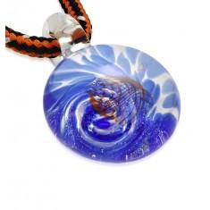 2e981f8ff Šnúrkový náhrdelník - farbené sklo so špirálou modrej farby, oranžové vlnky