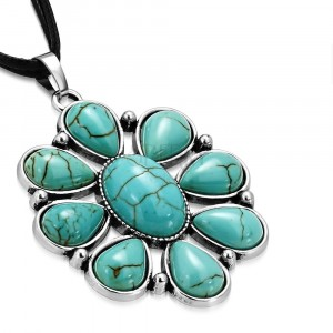 3006c22b4 Čierny šnúrkový náhrdelník - ozdobný kvet s tyrkysovými kameňmi, slzy