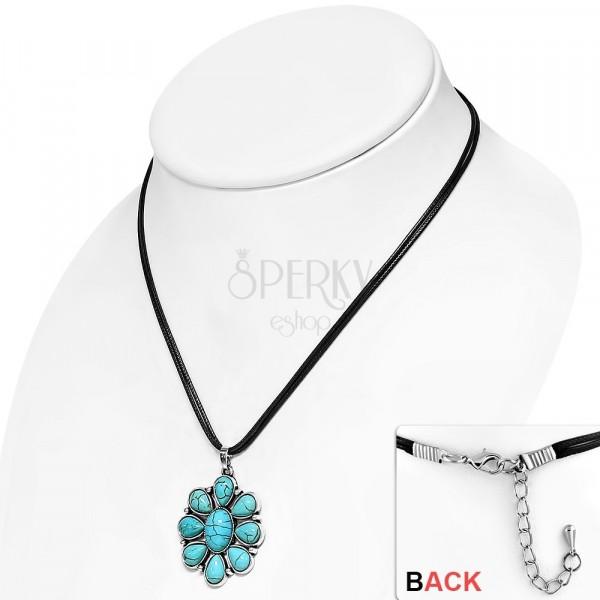 b85434123 ... Čierny šnúrkový náhrdelník - ozdobný kvet s tyrkysovými kameňmi, slzy