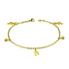 Šperky eshop - Retiazka zlatej farby z ocele - guľôčky, šestnástinové noty S19.31