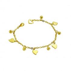 Šperky eshop - Retiazka z chirurgickej ocele v zlatom odtieni - nepravidelné srdiečka a guľôčky S20.11