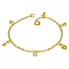 Oceľová retiazka v zlatom farebnom odtieni - guľôčky, zámok a kľúčik