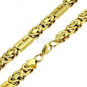 Lesklá retiazka zlatej farby z ocele - byzantský vzor, latinské kríže