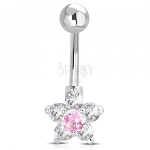 Oceľový piercing do brucha - guľôčka, ružovo-číry zirkónový kvet