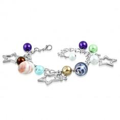 Náramok - syntetické perly, dvojfarebné korálky, kontúry hviezd a kvety
