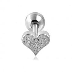 Piercing do ucha z ocele - pieskované srdiečko a guľôčka striebornej farby