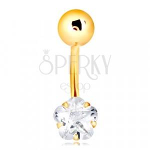 Piercing do pupka v žltom 9K zlate - lesklá guľôčka, číry zirkónový kvietok