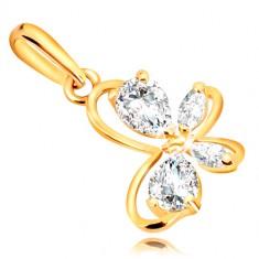 ebb0d3199 Šperky eshop - Prívesok v žltom 9K zlate - kontúra motýlika s čírymi  trblietavými zirkónmi GG54