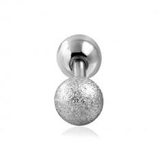 Piercing do tragusu z ocele - hladká a pieskovaná guľôčka striebornej farby, 6 mm