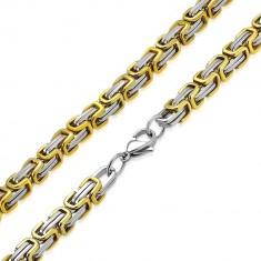 Šperky eshop - Dvojfarebná retiazka z chirurgickej ocele - strieborno-zlatá farba, byzantský vzor, 9 mm AB37.17