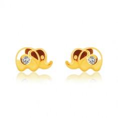 1d50e1136 Šperky eshop - Náušnice v žltom zlate 375 - lesklý sloník s čírym zirkónom,  puzetky