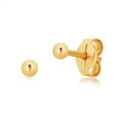 Puzetové náušnice zo žltého zlata 375 - drobná gulička, hladký a lesklý povrch, 2 mm