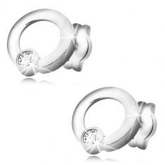 d01f14cfb Šperky eshop - Náušnice v bielom zlate 585 - lesklé krúžky, ligotavý okrúhly  zirkón,