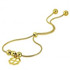 6b26ae012 Oceľový náramok zlatej farby - štvorlístok pre šťastie, guľôčky, vzor hadej  kože