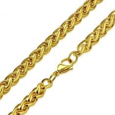 a2e1f30e1 Šperky eshop - Oceľová retiazka zlatej farby - jemne zatočené očká, okrúhly  prierez S34.