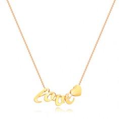 Náhrdelník zo žltého zlata 375 - tenká retiazka, písmenká l, o, v, e, srdiečko