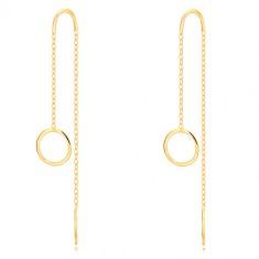 Náušnice zo žltého 9K zlata - lesklý krúžok, úzky pás a retiazka