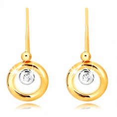 Šperky eshop - Náušnice v 9K zlate - prstenec zo žltého zlata, objímka v bielom zlate a zirkón GG55.28