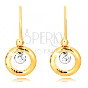 Náušnice v 9K zlate - prstenec zo žltého zlata, objímka v bielom zlate a zirkón