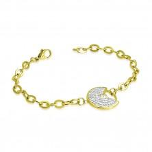 Náramok zlatej farby z ocele - ozdobný kruh s výrezom, číre trblietavé zirkóny