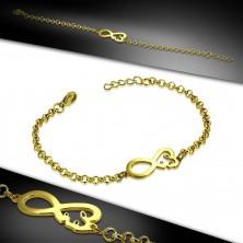 Náramok z ocele v zlatom farebnom odtieni - symbol nekonečna so srdiečkom