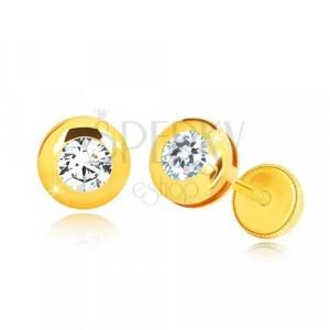 Náušnice zo žltého 14K zlata - lesklý kruh s čírym okrúhlym zirkónom, puzetky so závitom