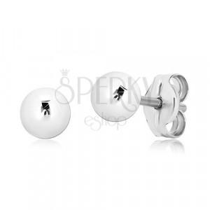 Náušnice z bieleho zlata 375 - jednoduchá zrkadlovolesklá guľôčka, 4 mm
