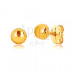 Náušnice z 9K žltého zlata - krúžok so zrkadlovolesklým povrchom, puzetky