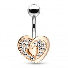 Piercing do pupka z ocele 316L - kontúra srdca so srdiečkom uprostred, žiarivé zirkóny