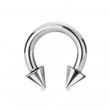 Piercing z ocele 316L - lesklá podkova s hrotmi, strieborná farba, hrúbka 5 mm
