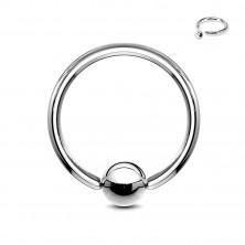 Oceľový piercing - krúžok a gulička striebornej farby, hrúbka 1,2 mm