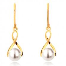 Náušnice zo žltého zlata 375 - lesklá zvlnená stuha, guľatá perla bielej farby