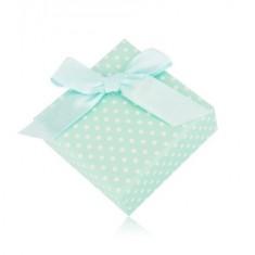 Šperky eshop - Bodkovaná krabička na náušnice alebo dva prstene - mätovo zelený odtieň, mašľa Y09.06