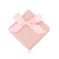 Šperky eshop - Bodkovaná krabička na náušnice alebo dva prstene - pastelovo ružový odtieň, mašľa Y13.08