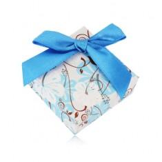 Šperky eshop - Darčeková krabička na prsteň alebo náušnice - ibištek, tmavomodrá mašlička Y05.03