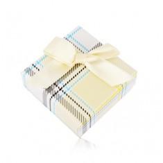 Šperky eshop - Darčeková krabička na prsteň alebo náušnice - žltý károvaný vzor, mašľa Y05.06