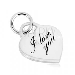 """Strieborný 925 prívesok - srdcový zámok, jemne gravírovaný nápis """"I love you"""""""